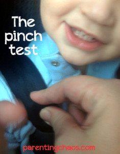 car seat safety, pinch test