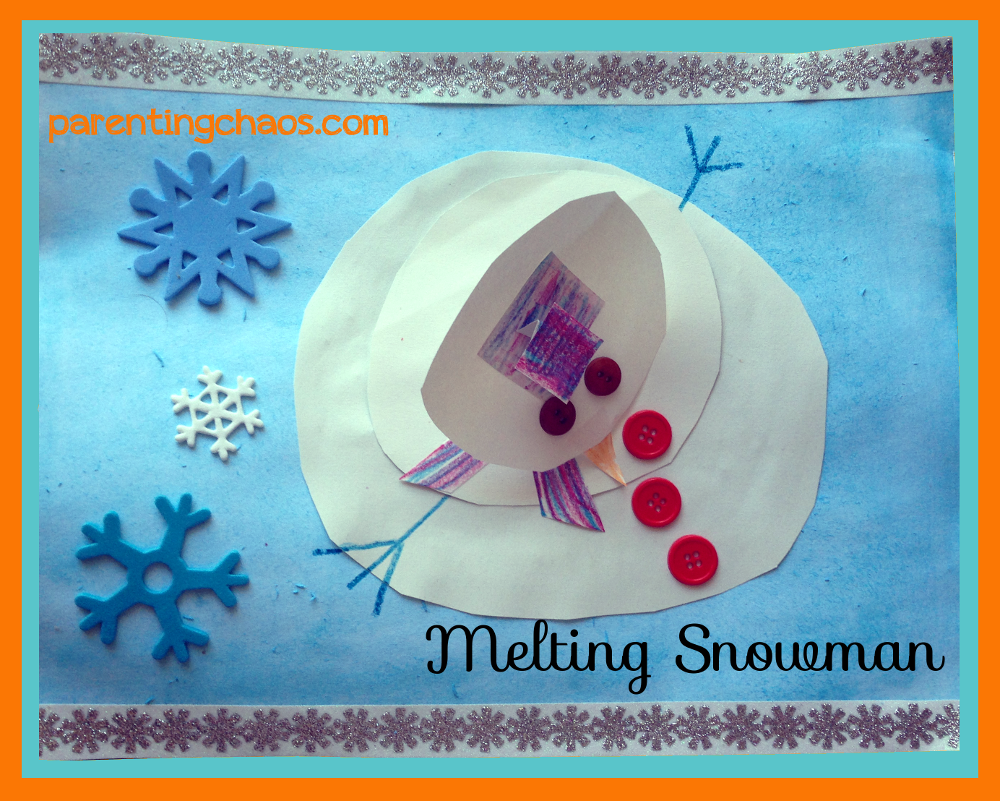melting snowman craft, winter crafts for kids