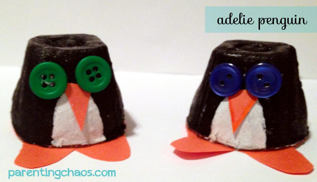 egg carton penguin craft for kids