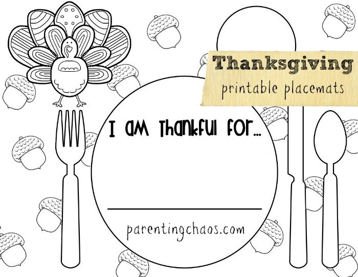 image regarding Thanksgiving Placemats Printable titled Schooling Babies Thankfulness
